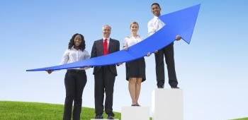 People standing with an upward arrow in their hands